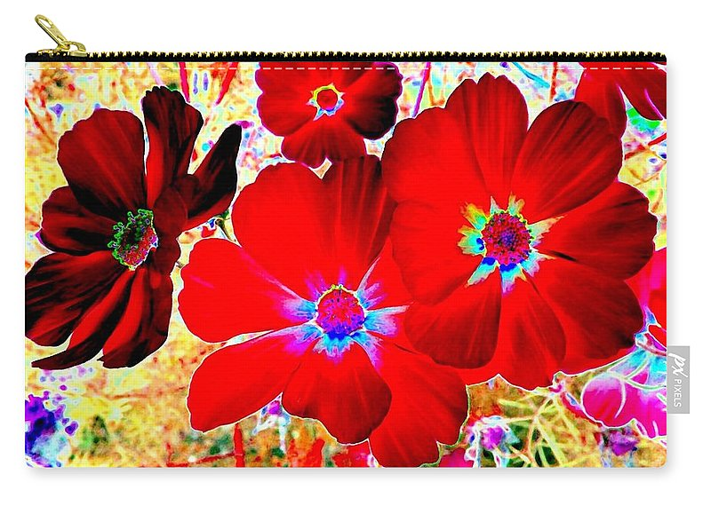 Red Cosmos Carry-all Pouch featuring the digital art Red Cosmos by Will Borden