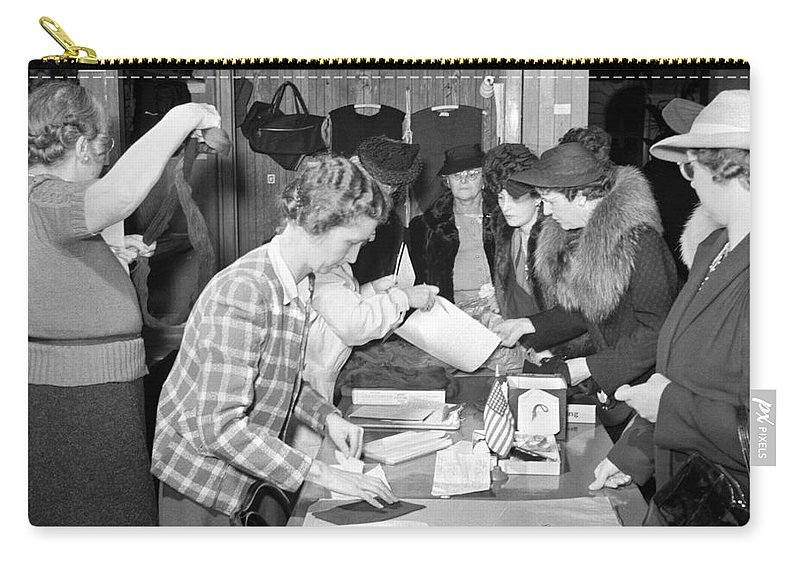 1941 Carry-all Pouch featuring the photograph Red Cross, 1941 by Granger