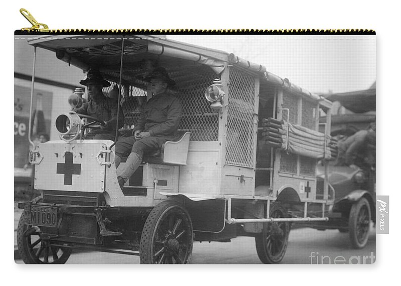 1910s Carry-all Pouch featuring the photograph Red Cross: Ambulance by Granger