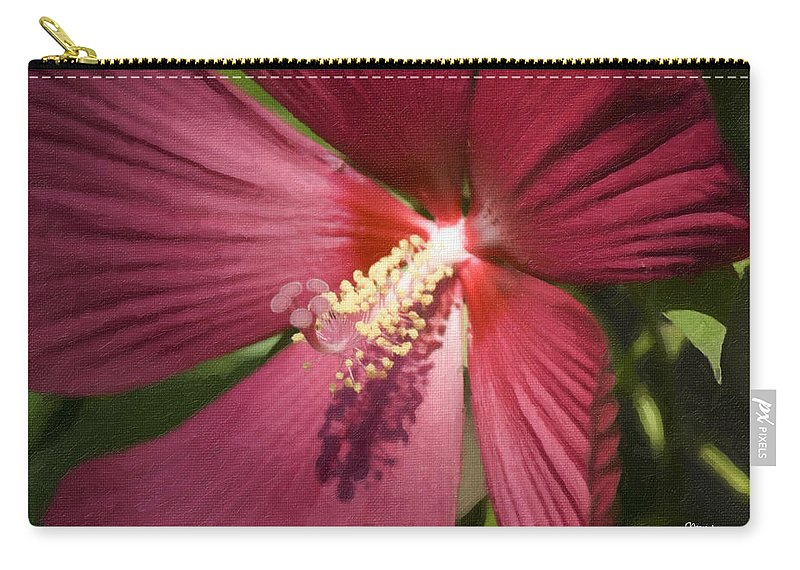 Hibiscus Carry-all Pouch featuring the painting Red Disco Belle Hibiscus Painting by Teresa Mucha