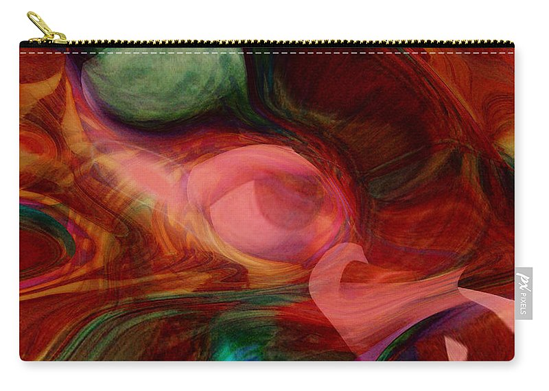 Abstract Art Carry-all Pouch featuring the digital art Red Eye by Linda Sannuti