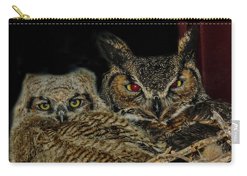 Great Horned Owls Carry-all Pouch featuring the photograph Red Eyed Mama And Baby Horned Owls by Elizabeth Hershkowitz