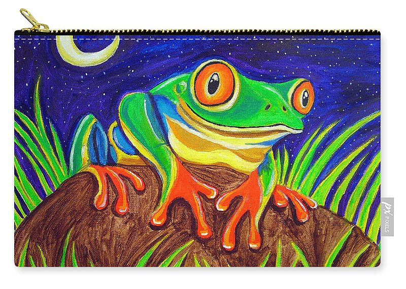 Red-eyed Tree Frog Carry-all Pouch featuring the painting Red-eyed Tree Frog And Starry Night by Nick Gustafson