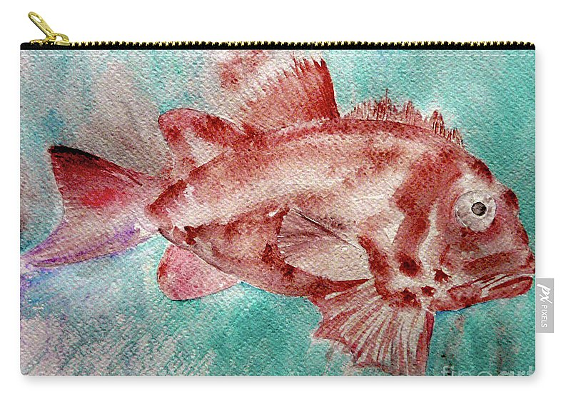 Fish Carry-all Pouch featuring the painting Red Fish by Jasna Dragun