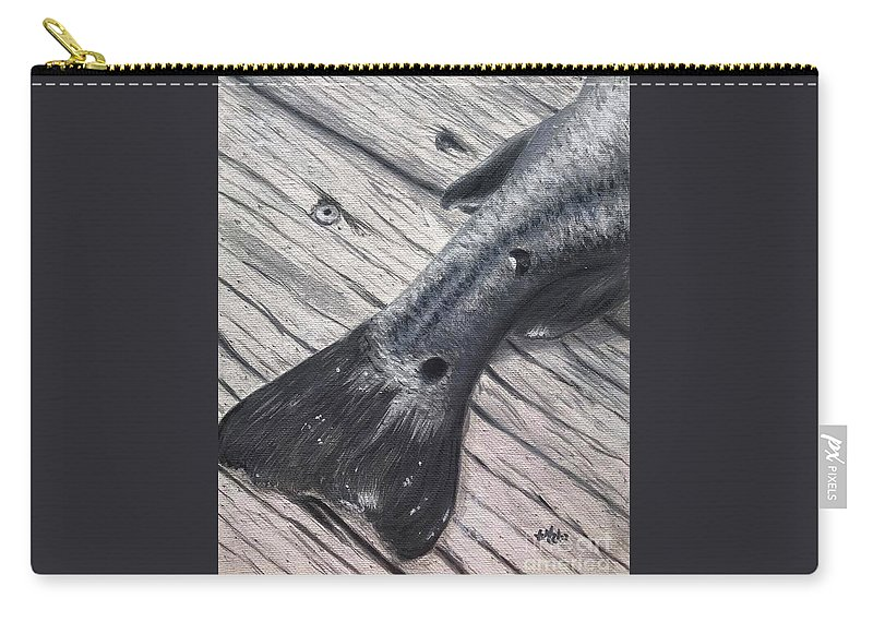 Red Carry-all Pouch featuring the painting Red Fish Painted Black by Katie Monzel