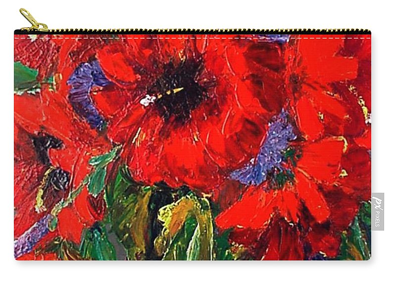 Red Carry-all Pouch featuring the painting Red Floral by Beverly Boulet