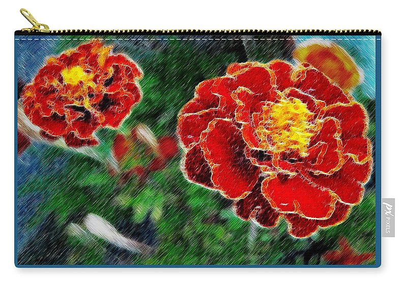 Flower Carry-all Pouch featuring the photograph Red Flower In Autumn by Joan Minchak