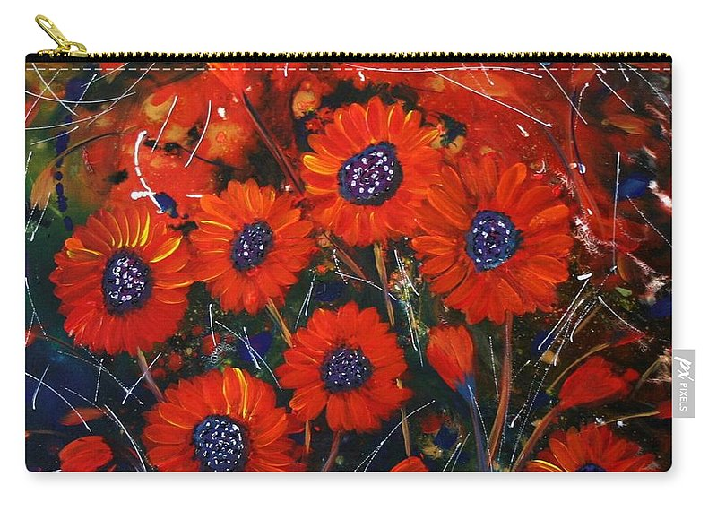 Flowers Carry-all Pouch featuring the painting Red Flowers In The Night by Luiza Vizoli