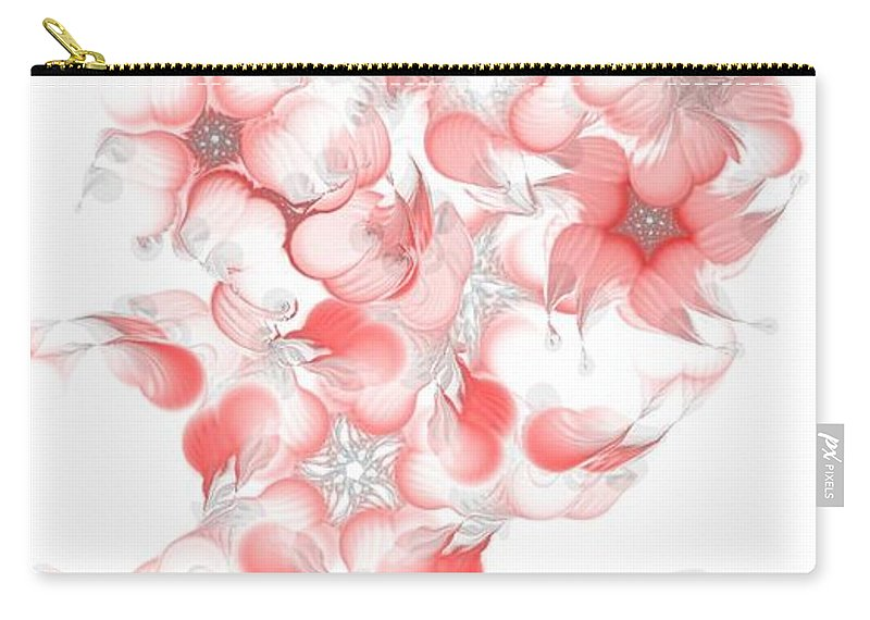 Digital Photograph Carry-all Pouch featuring the digital art Red Fractal Floral Pattern by David Lane