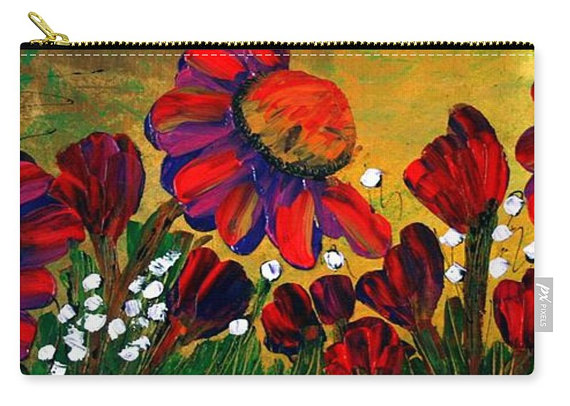 Flowers Carry-all Pouch featuring the painting Red Garden by Luiza Vizoli