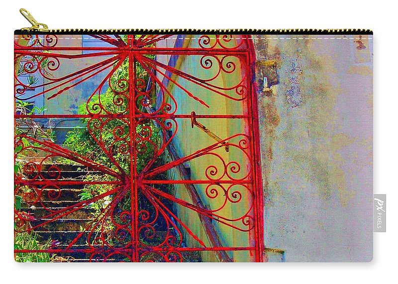 Gate Carry-all Pouch featuring the photograph Red Gate by Debbi Granruth