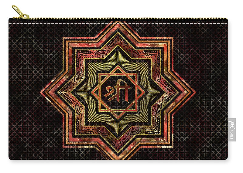 Star Of Lakshmi Carry-all Pouch featuring the digital art Red Gemstone And Gold Star Of Lakshmi - And Sri by Creativemotions