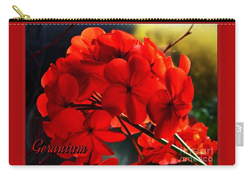 Red Geraniums Carry-all Pouch featuring the photograph Red Geranium by Joan-Violet Stretch