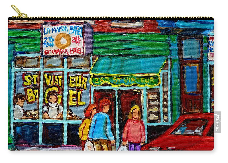 St Carry-all Pouch featuring the painting Red Geraniums And Bagels by Carole Spandau
