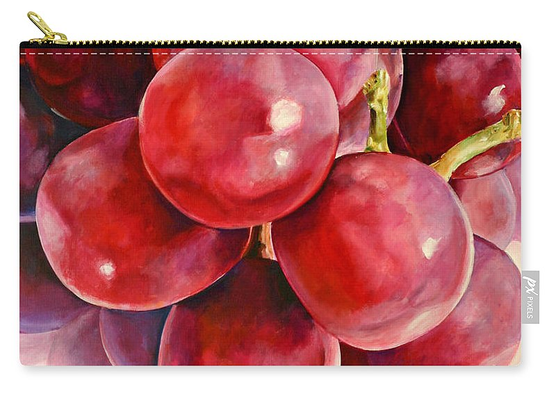 Red Carry-all Pouch featuring the painting Red Grape Reflections by Toni Grote