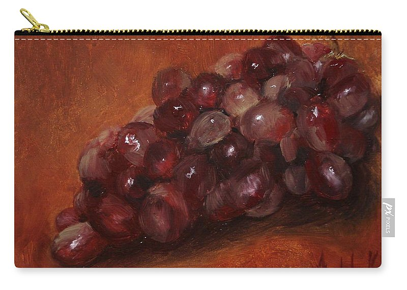Fruit Carry-all Pouch featuring the painting Red Grapes by Barbara Andolsek