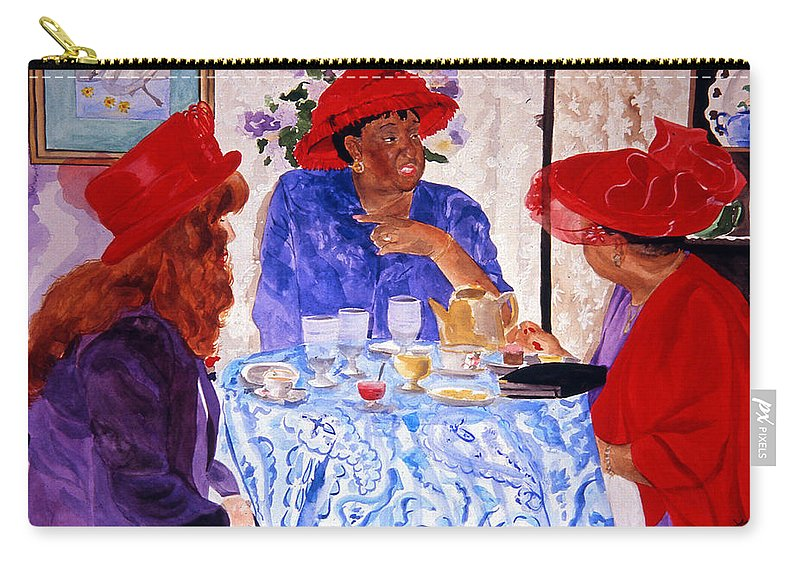 Red Hat Carry-all Pouch featuring the painting Red Hatters Chatter by Jean Blackmer
