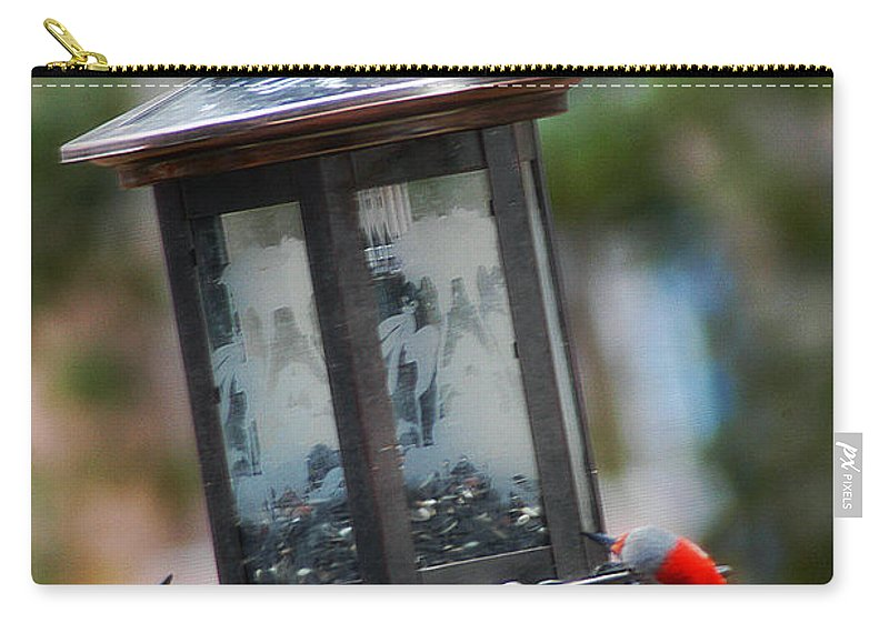 Clay Carry-all Pouch featuring the photograph Red Head Wood Peckers On Feeder by Clayton Bruster