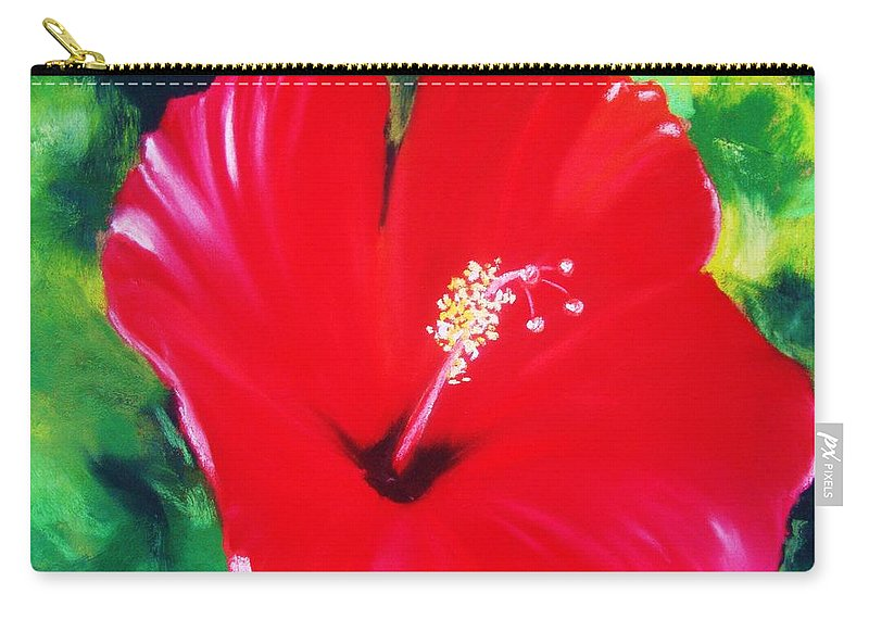 Bright Flower Carry-all Pouch featuring the painting Red Hibiscus by Melinda Etzold