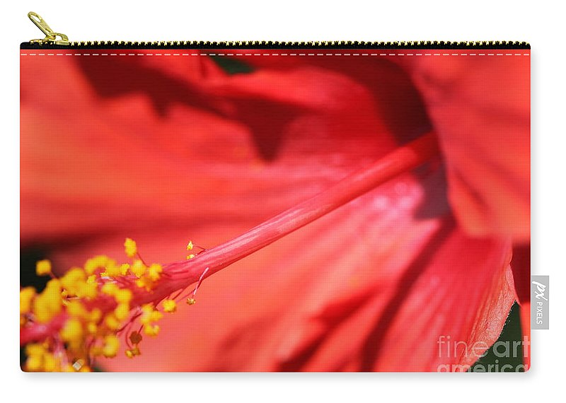 Red Carry-all Pouch featuring the photograph Red Hibiscus by Nadine Rippelmeyer