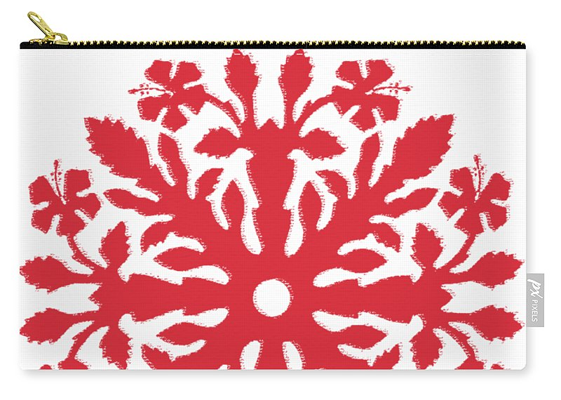 Hawaii T-shirt Carry-all Pouch featuring the digital art Hawaii Red Hibiscus Quilt by James Temple