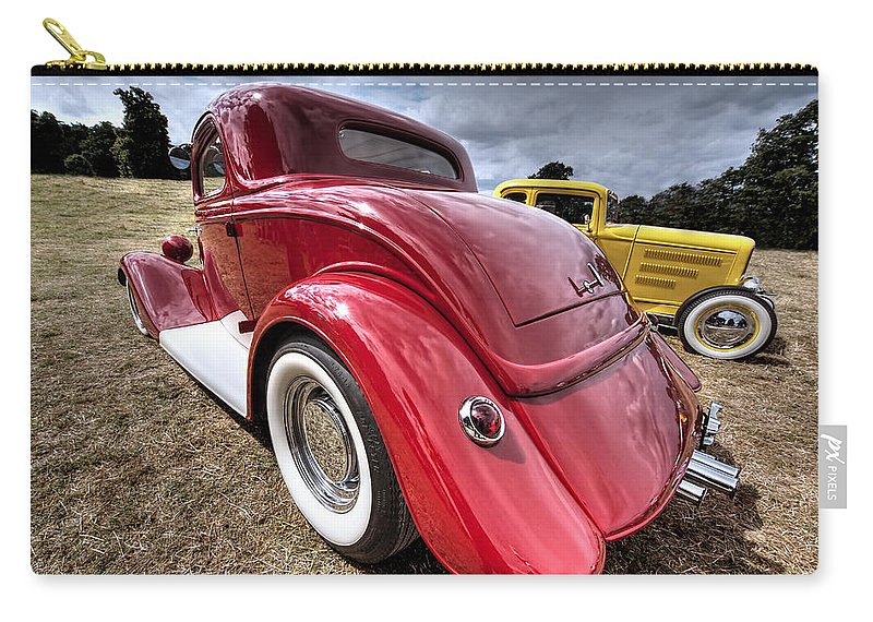 Hotrod Carry-all Pouch featuring the photograph Red Hot Rod - 1930s Ford Coupe by Gill Billington