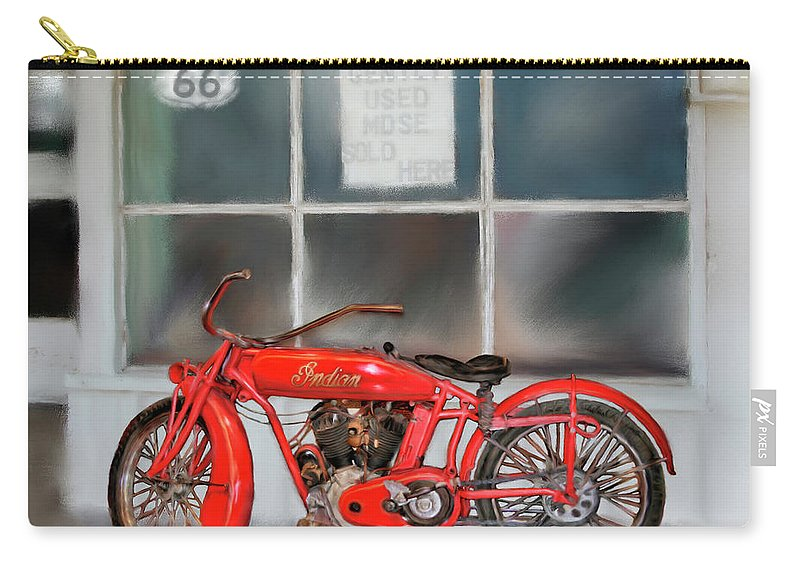 Motorcycles Carry-all Pouch featuring the painting Red Hot Tail Gunner by Colleen Taylor