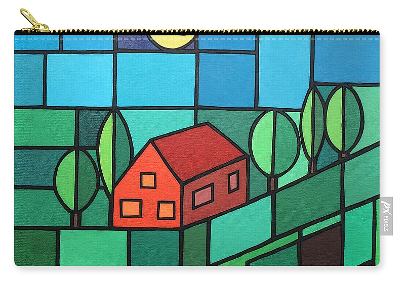 Paint Carry-all Pouch featuring the painting Red House Amidst The Greenery by Jutta Maria Pusl