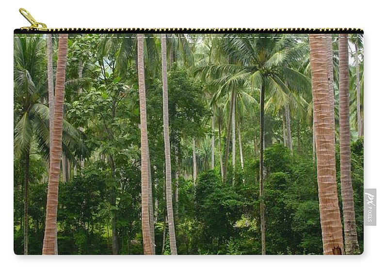 Palm Trees Carry-all Pouch featuring the photograph Red In The Jungle by Minaz Jantz