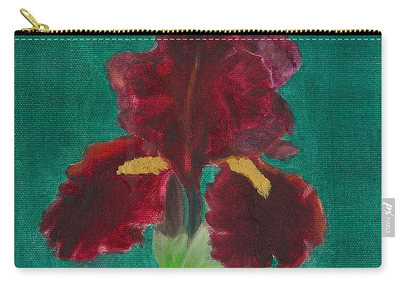 Flower Carry-all Pouch featuring the painting Red Iris by Paula Emery