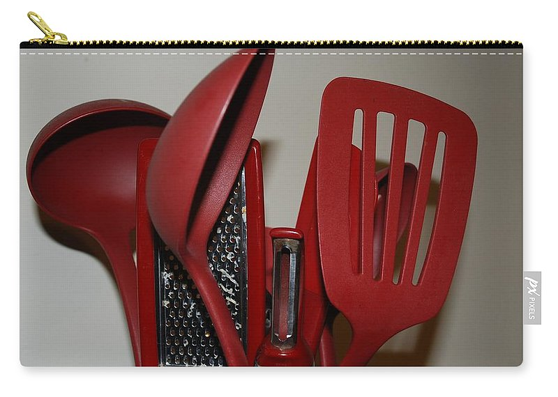 Utencils Carry-all Pouch featuring the photograph Red Kitchen Utencils by Rob Hans