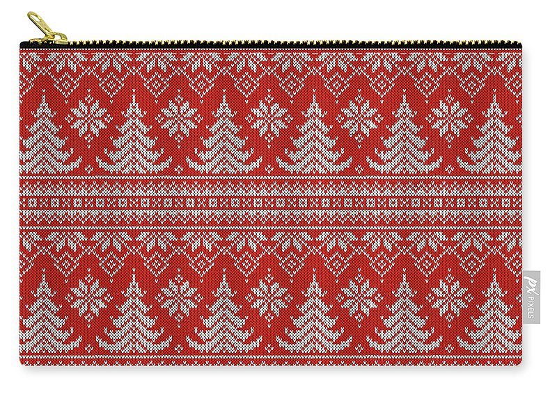 Red Carry-all Pouch featuring the digital art Red Knitted Winter Sweater by Long Shot