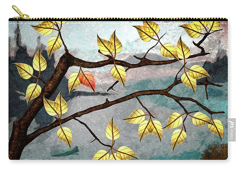 Digital Art Carry-all Pouch featuring the digital art Red Leaf by Ken Taylor