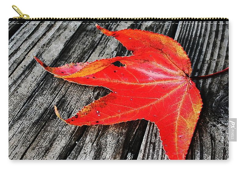 Nature Carry-all Pouch featuring the photograph Red Leaf by Linda Sannuti