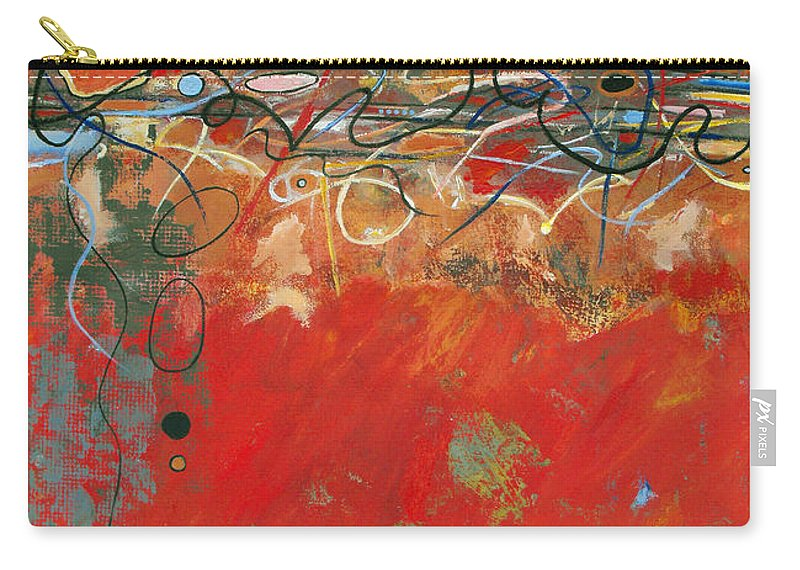 ruth Palmer Abstract Gestural Color Red Painting Acrylic Black Orange Blue Yellow Green Decorative Carry-all Pouch featuring the painting Red Meander by Ruth Palmer