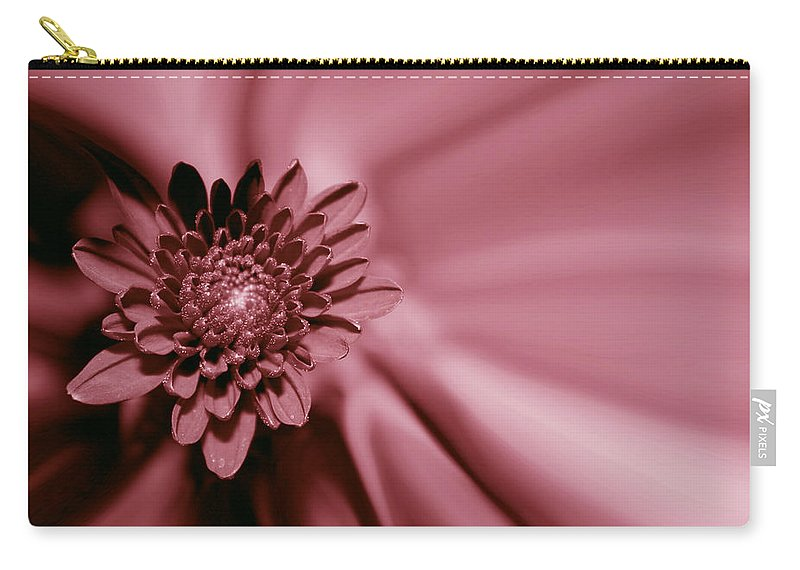 Red Mum Carry-all Pouch featuring the photograph Red Mum by Linda Sannuti
