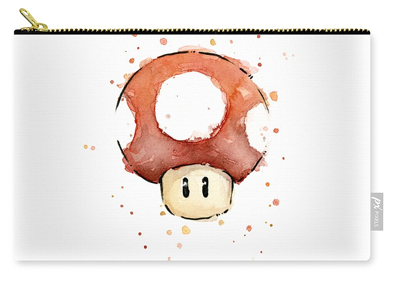Watercolor Carry-all Pouch featuring the painting Red Mushroom Watercolor by Olga Shvartsur
