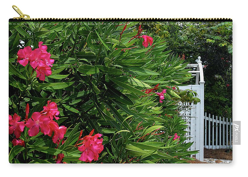 Red Carry-all Pouch featuring the photograph Red Oleander Arbor by Marie Hicks