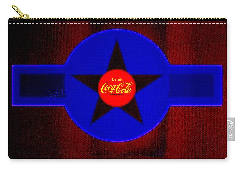 Label Carry-all Pouch featuring the painting Red On Red With Blue by Charles Stuart