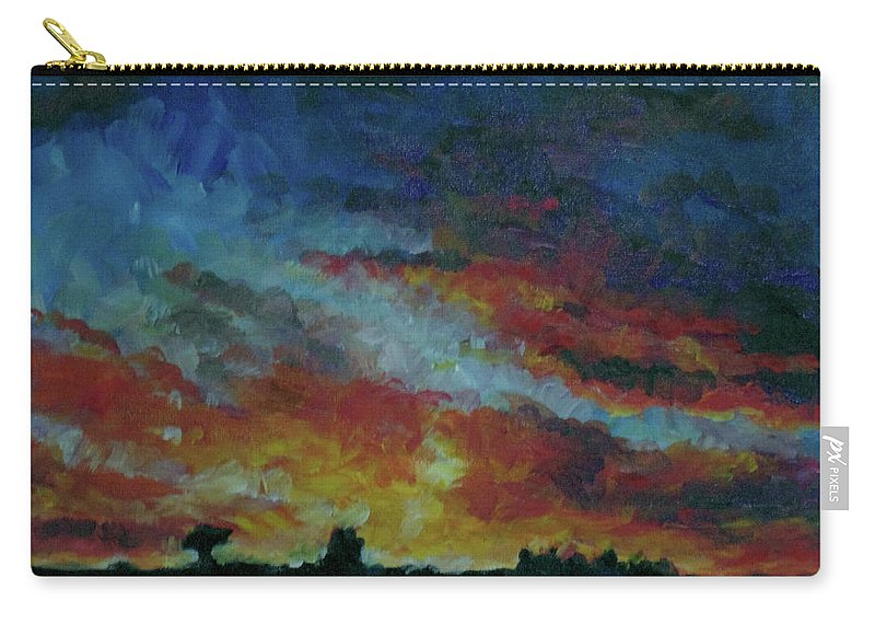 Skyscape Carry-all Pouch featuring the painting Red Orange Evening by Susan Moore