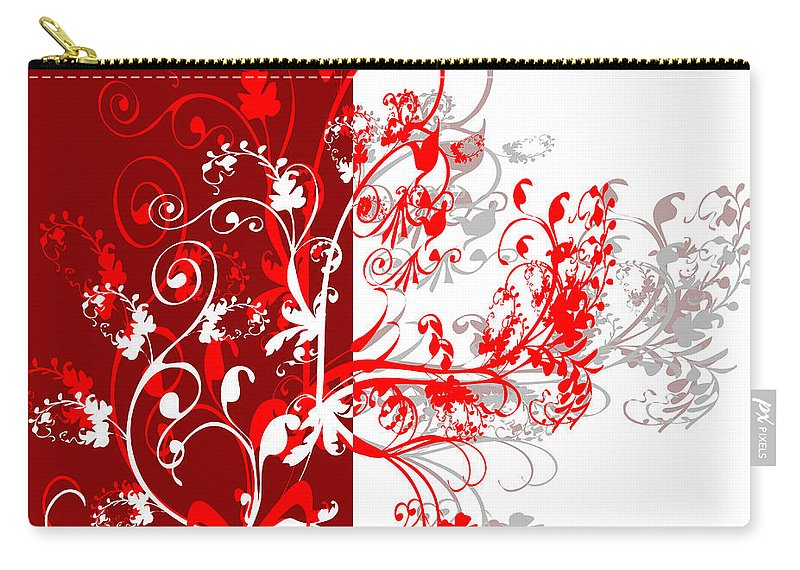 Flower Carry-all Pouch featuring the digital art Red Ornament by Svetlana Sewell