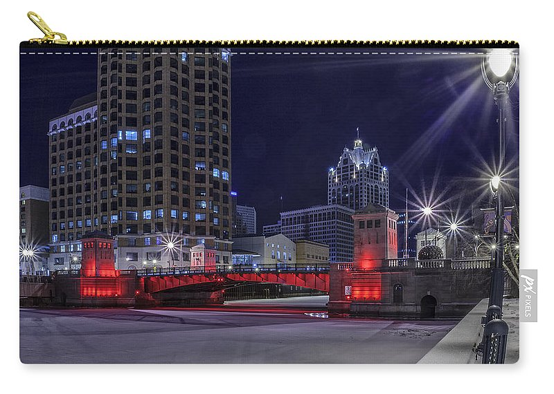 Www.cjschmit.com Carry-all Pouch featuring the photograph Red Over Ice by CJ Schmit