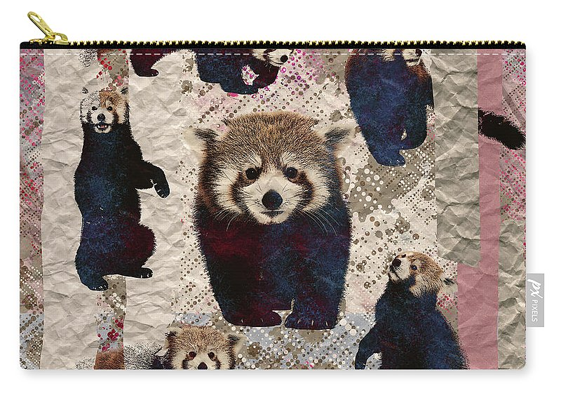 Panda Carry-all Pouch featuring the digital art Red Panda Abstract Mixed Media Digital Art Collage by Creativemotions