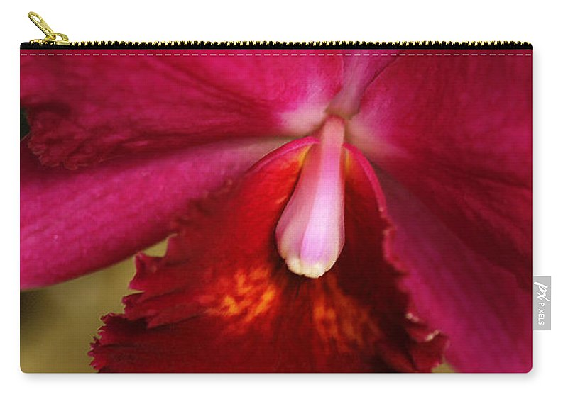 Flower Carry-all Pouch featuring the photograph Red Passion Orchid by Deborah Benoit