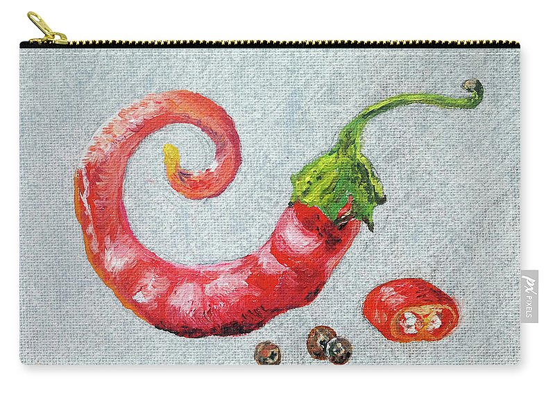 Still Life Carry-all Pouch featuring the painting Red Pepper by Rosa Vard