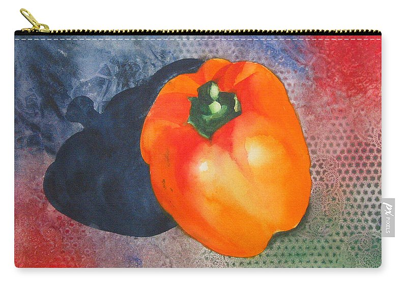 Pepper Carry-all Pouch featuring the painting Red Pepper Solo by Jean Blackmer