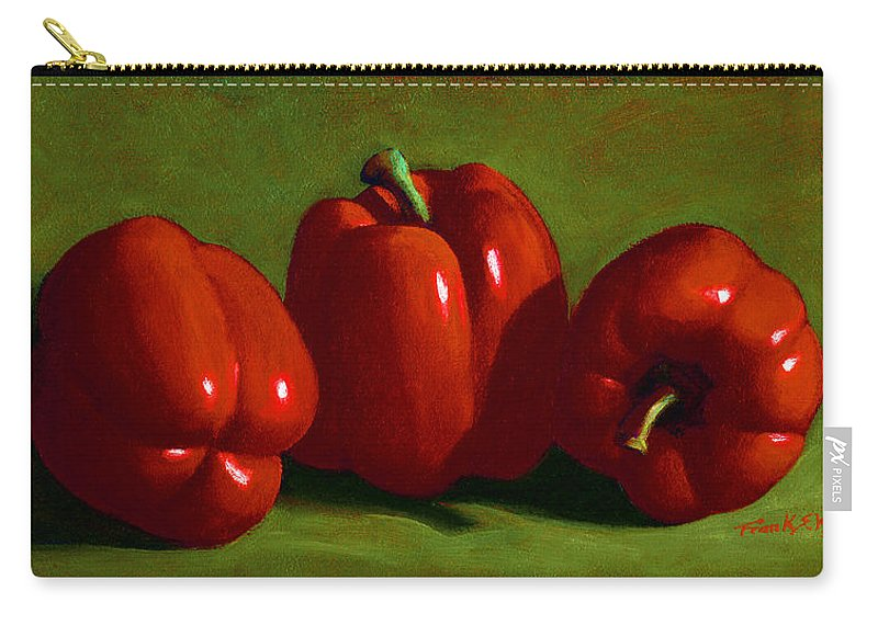 Red Peppers Carry-all Pouch featuring the painting Red Peppers by Frank Wilson