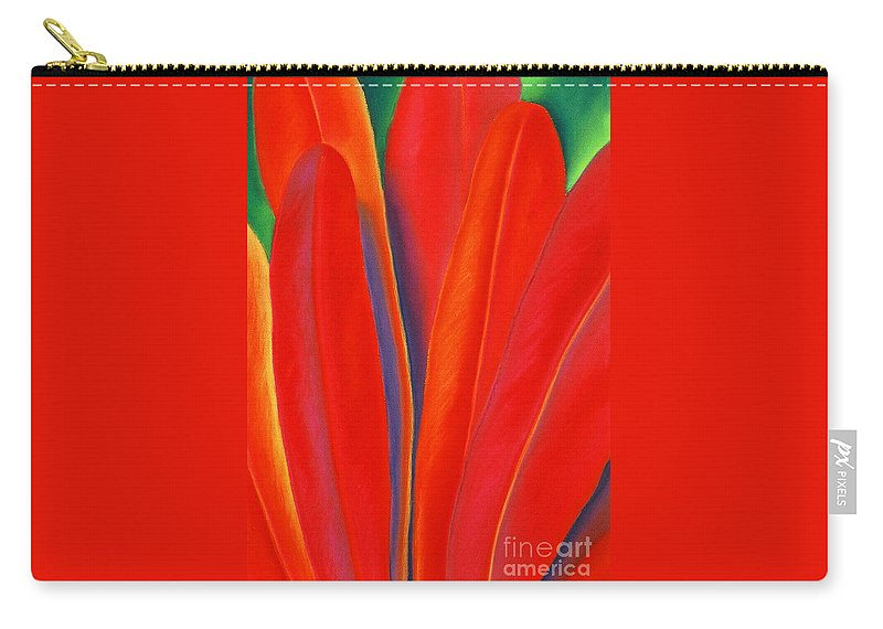 Red Carry-all Pouch featuring the painting Red Petals by Lucy Arnold