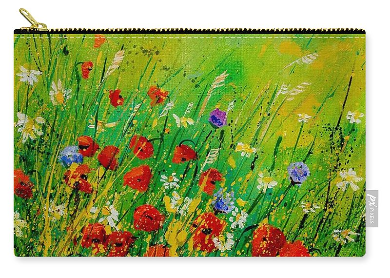 Flowers Carry-all Pouch featuring the painting Red Poppies 450708 by Pol Ledent