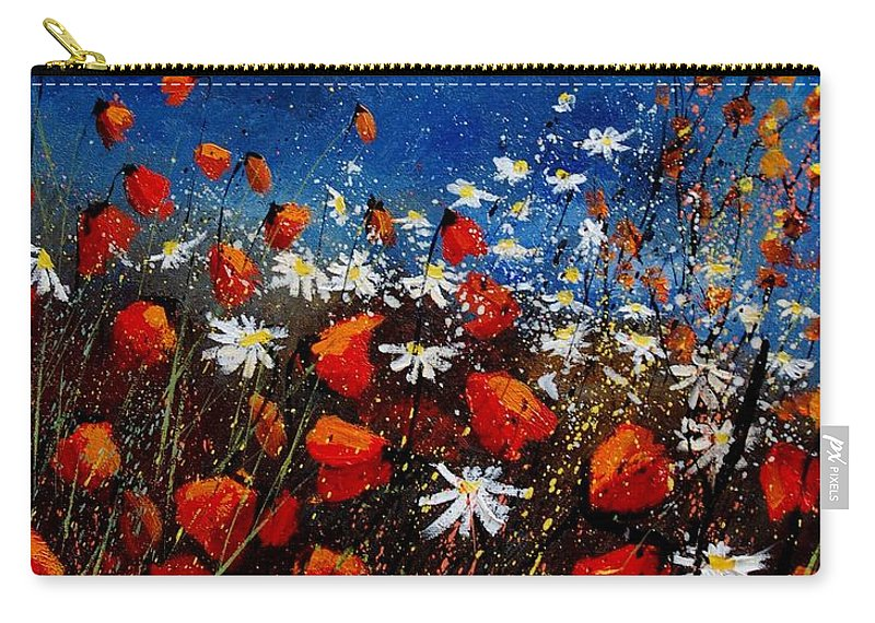 Flowers Carry-all Pouch featuring the painting Red Poppies 451108 by Pol Ledent